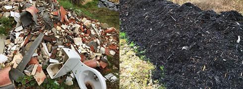 La décharge illégale de Saint Germain du Bel-Air continue de recevoir des déchets de toute nature (amiante sur l'image) et notamment du compost stocké sans protection à la limite des broussailles et la zone boisée.